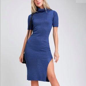 NWT Lulu's blue turtleneck midi sweater dress.